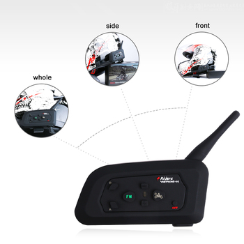 1200M 4-Way Bluetooth Headset Intercom Full Duplex BT Interphone FM Radio Bluetooth Helmet Intercom Headset