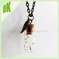 ^^^%%% Glass Pendant, Crystal Czech Stone. Polished Gold -Plated, vintage decorative mini terrarium bottle glass crafts