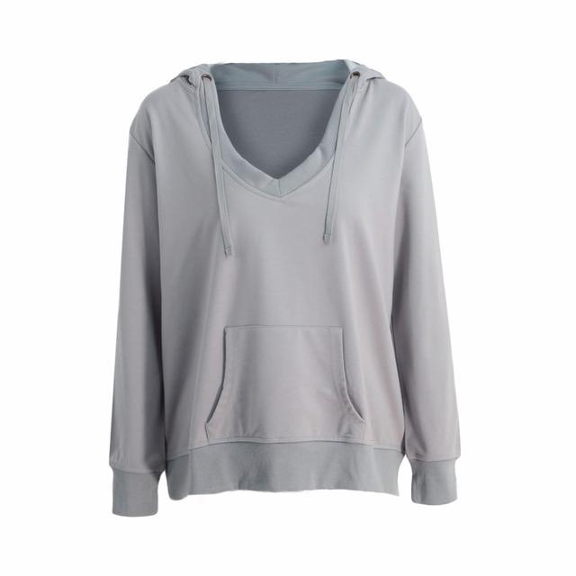 New Sexy Women Deep V Neck Hoodies Sweatshirt Long Sleeve Kangaroo Pocket Solid Loose Jumper Pullover Black/Grey