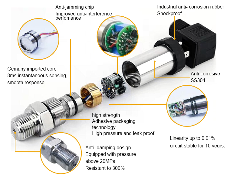 High accurate micro oil hydraulic pressure sensor for medical equipment