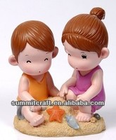 LED Childhood innocence resin precious moments figurines Love the beach