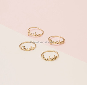 Wholesale Christmas Gifts Family Jewelry Personalized Name Ring Gold Ring Name Designs