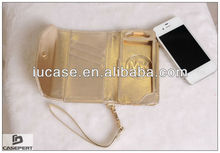 Hot Selling Wallet Case for iPhone 5 with Hand Strap and Credit Card Slots- Golden Metallic