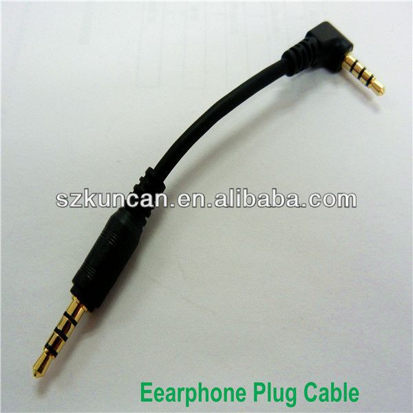 Headphone jack 10cm long TRRS plug cable