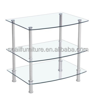 3 tiers transparent acrylic /glass free standing universal lcd tv stand