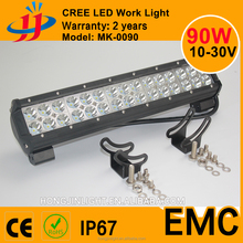 90W LED crees 3w*pieces light bar 10-30V IP67 Flood Spot Combo Beam Led light bar for 4x4 truck SUV offroad headlight