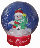 180cmH inflatable snowglobe giant snowman and small xmas tree