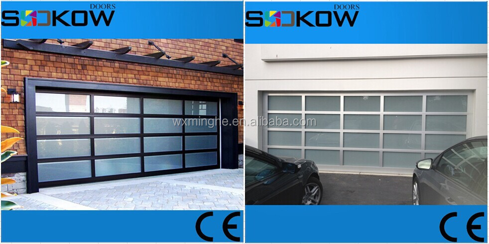 Aluminum tempered glass insert sectional garage door buy for Sectional glass garage door