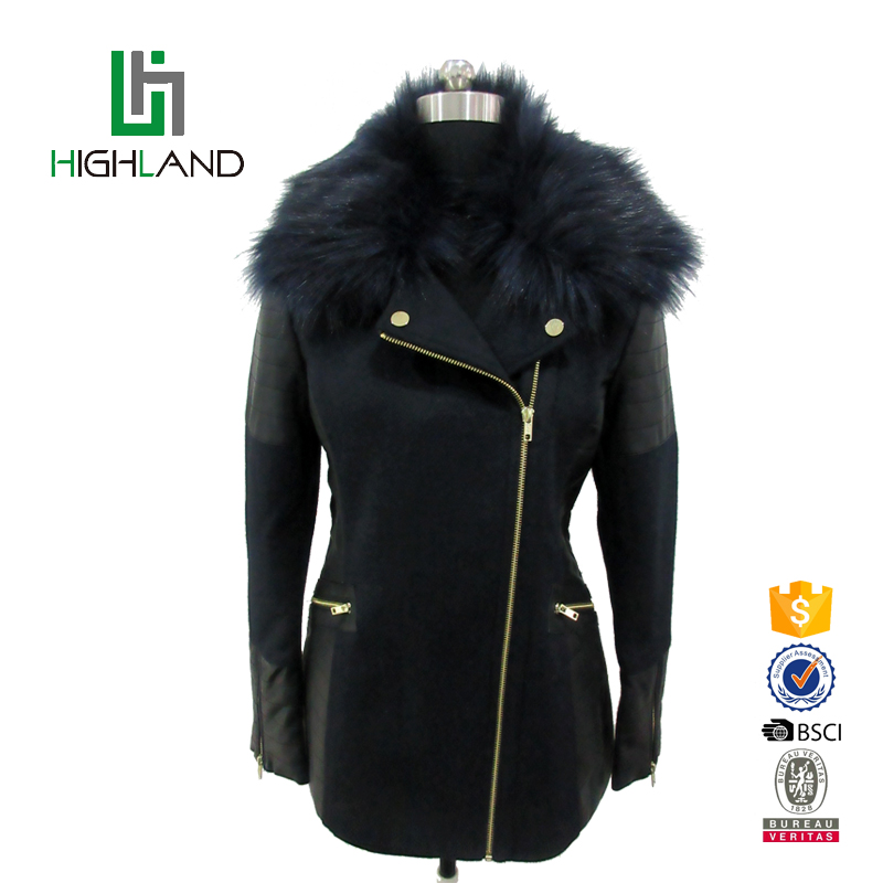 New style slim zipper faux fur collar long mortocycle jacket women coat leather jacket
