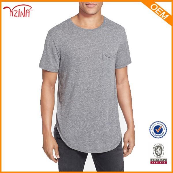 Mannen longline t shirt langwerpige t shirt groothandel for Bulk pocket t shirts