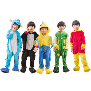 Factory price kids children soft flannel wholesale different style cute lovely kigurumi cosplay animal onesie pajamas