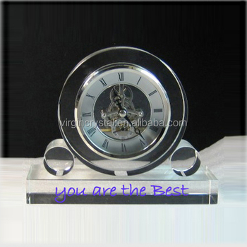 Romantic Design Optical Crystal Mechanical Clock With Customized Logo For Gift
