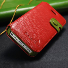 2017 New Button Style Mobile Leather Case for iPhone5,Hand Strap Color Wallet Cover For iPhone5