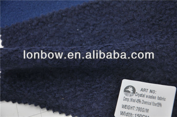 Hot sell crystal heavy woolen wool navy fabric for coats
