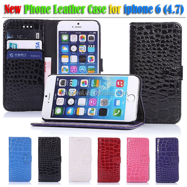 Crocodile leather case for iPhone 6, iPhone 6 plus PU leather case