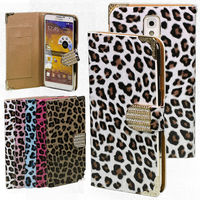 For Samsung Galaxy Note 3 Leather Leopard Diamond Dual-Card Smart Wallet Stand Case Cover Skin