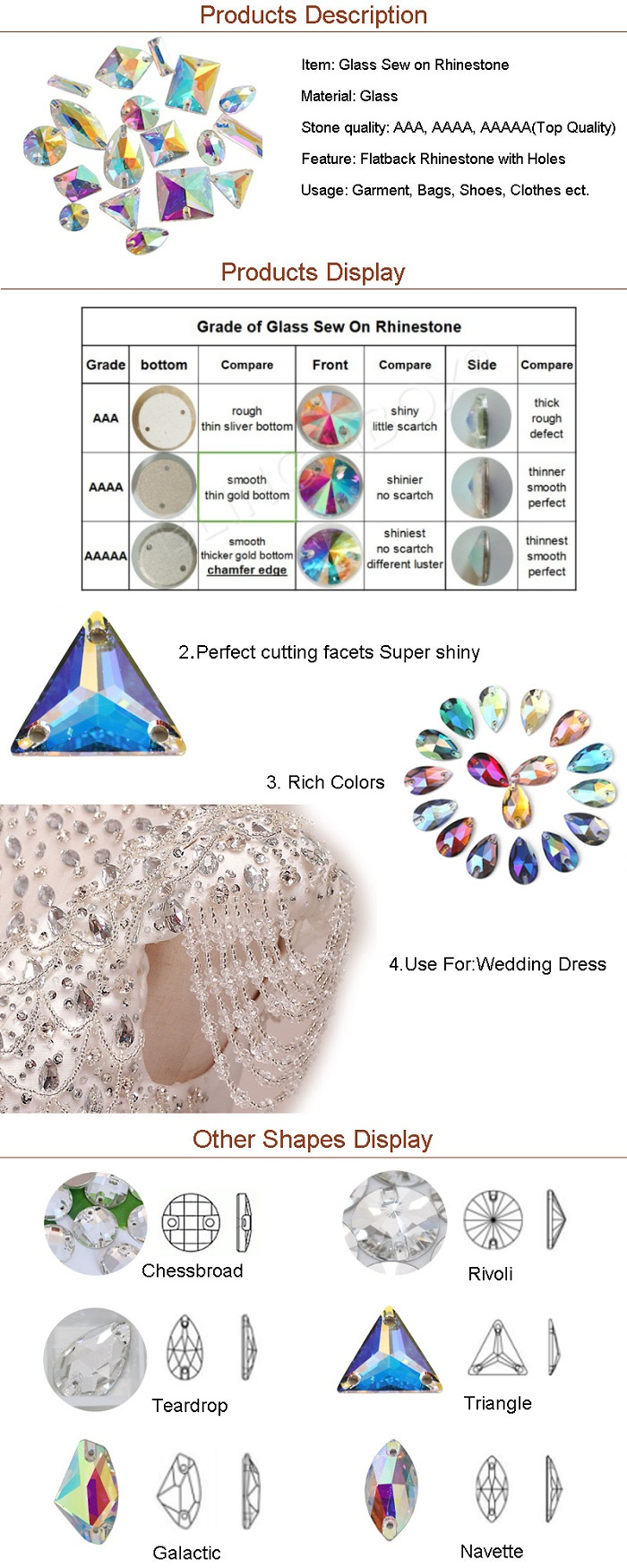OLeeya Factory Wholesale 3A Glass Pear Drop Crystals AB Colors Teardrop Sew on Rhinestones For Costumes
