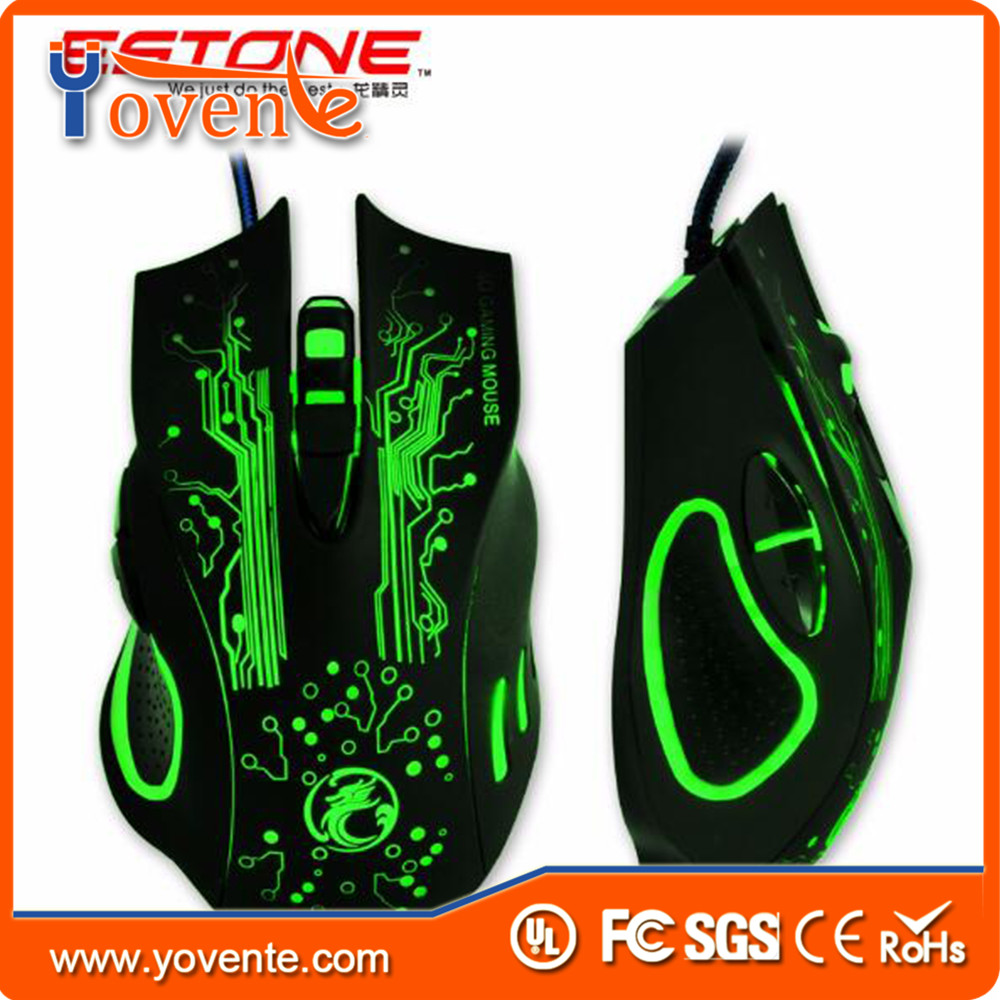 Yovente 2016 New Estone X9 Gaming Mouse 3200 DPI USB Wired Optical LED Computer Mice Mause for Laptop PC Gamer Upgraded version