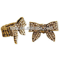 hot sale bowknot finger rings antique color metal ring with high quality CZ jade ring