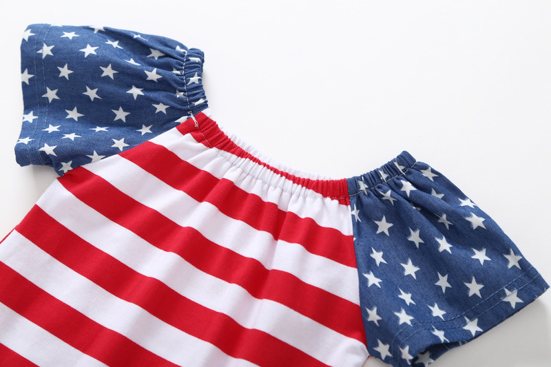 girls kids America 4th of july short sleeve clothing fourth of july clothes and headband 2pc set