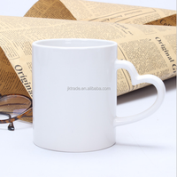 Alibaba China supplier promtional gift 11oz white bank ceramic sublimation coffee mugs with custom logo printing