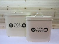 Set of 2 Oval Cream Metal Pet Food Tin Container