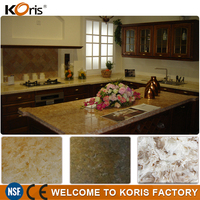Custom artificial polished brown granite silk stone countertops