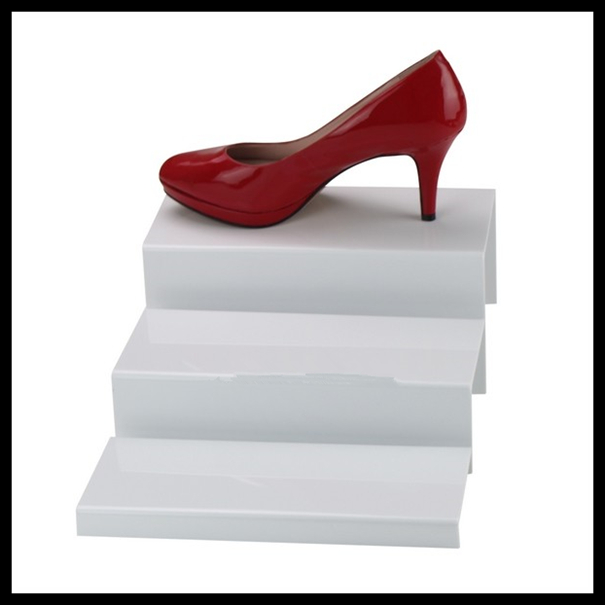 stepable white acrylic shoes display stand,acrylic display stand