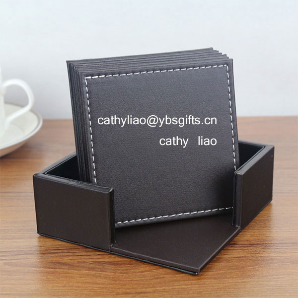 Set of 6 Modern Waterproof PU Leather Square Coasters Table Mats with Holder for Cup Glass Tableware 4 x 4 Inch - Brown