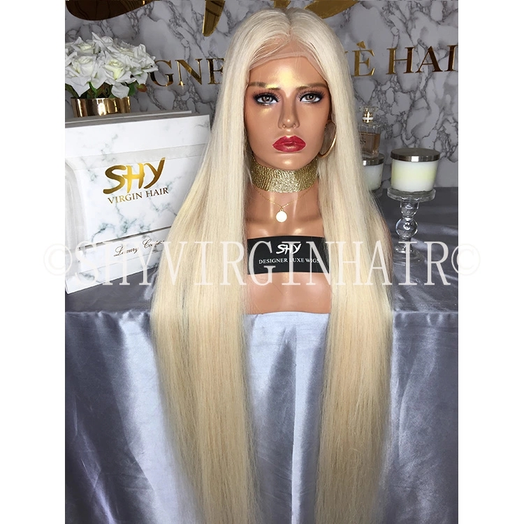 Fashion Pre Plucked Honey Blonde 40inch #613 Long Full Lace Human Hair Wigs