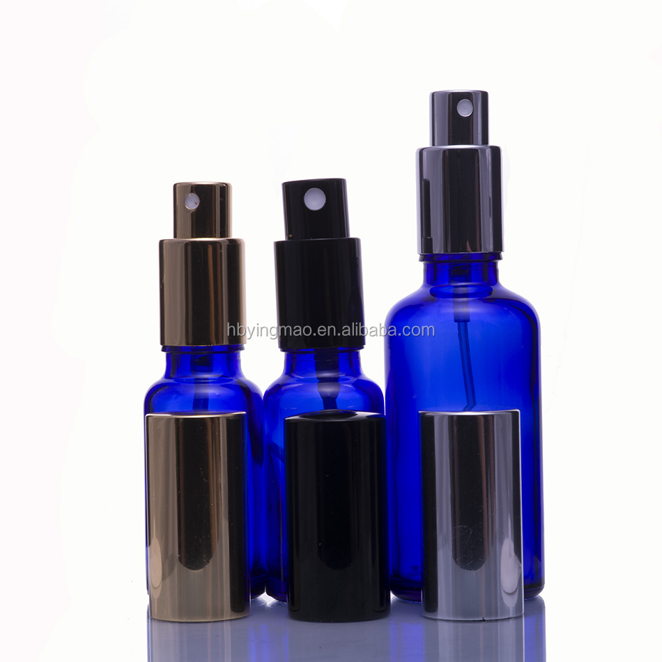 5ml 10ml 15ml 20ml 30ml 50ml 60ml 100ml 120ml 1oz 2oz 4oz Cobalt Blue Glass Fine Mist Spray Bottle with Fine Mist Sprayer