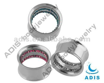 Fashion gem inside double flared ear piercing tunnel