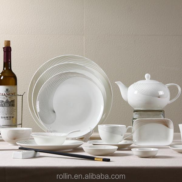 benutzerdefinierte pocelain tafelservice hochwertigen wei en porzellan fr hst ck geschirr set. Black Bedroom Furniture Sets. Home Design Ideas