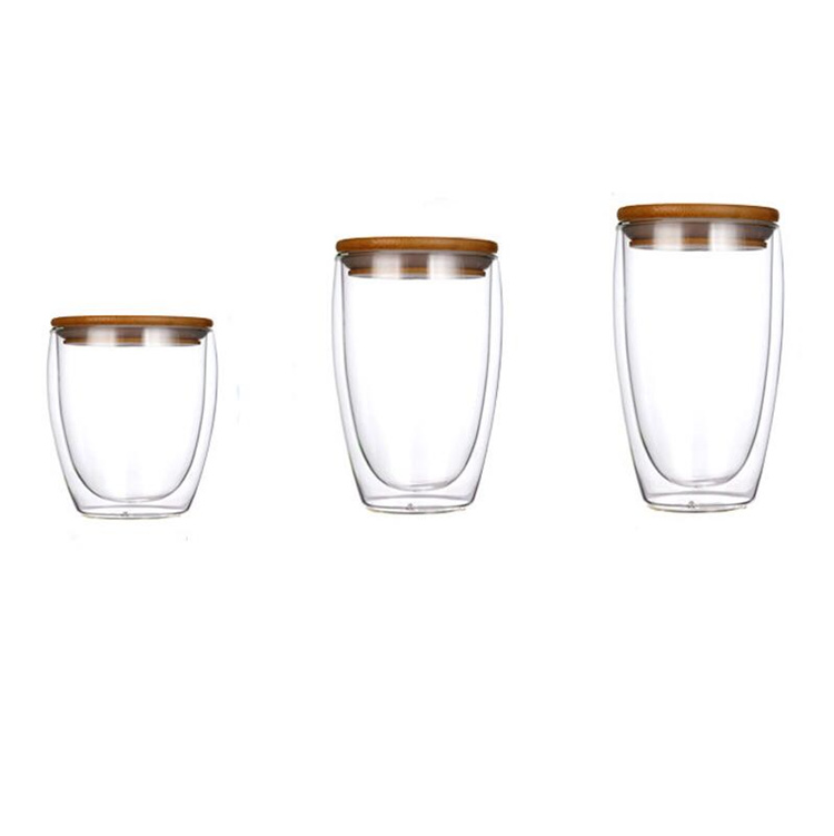 high borosilicate <strong>glass</strong> heat-insulated double wall <strong>glass</strong> cup for hot coffee and tea with bamboo lid
