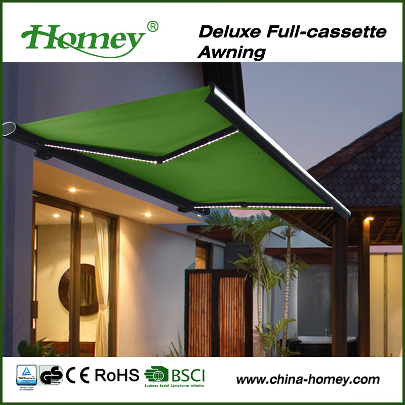 Dooya tubular motor and remote control full cassette electric retractable awning