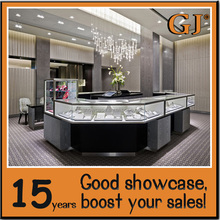 Tempered glass wooden shopping mall jewellery kiosk