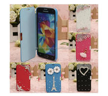 diamonds pearls PU leather case flip Leather Cover case for iPhone 4S
