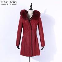 EACHOO Double face Leather wholesale parka lady leather winter jacket women Sheepskin Lamb