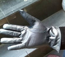 Hebei factory supply black cow grain leather motorcycle winter gloves for Korea market