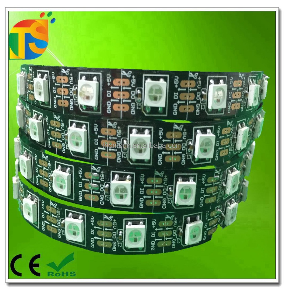 Addressable 60led black pcb ws2812bic smd5050 flexible led strip light rgb dc5v ip20
