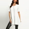 Ribbed fabric short sleeve longline the side split t shirt