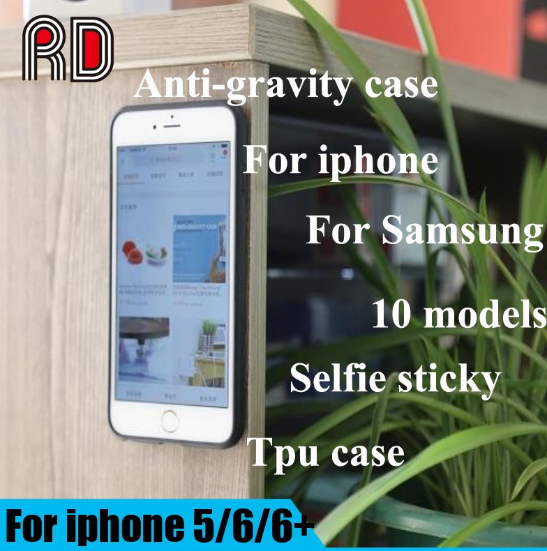 Anti gravity mobile phone shell for iPhone 5S 6S Plus 7 Plus Galaxy S6 S7 Edge magic adsorption phone case selfie sticky