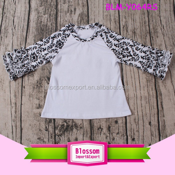 New design custom mommy and me raglan cotton kids t-shirts 3/4 ruffle sleeves silk screen print baby icing tee shirts wholesale