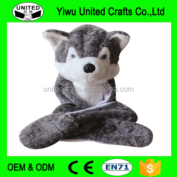 New Fashion Cute Plush Gray Wolf Animal Hat with Paws for Teenagers Winter Hats