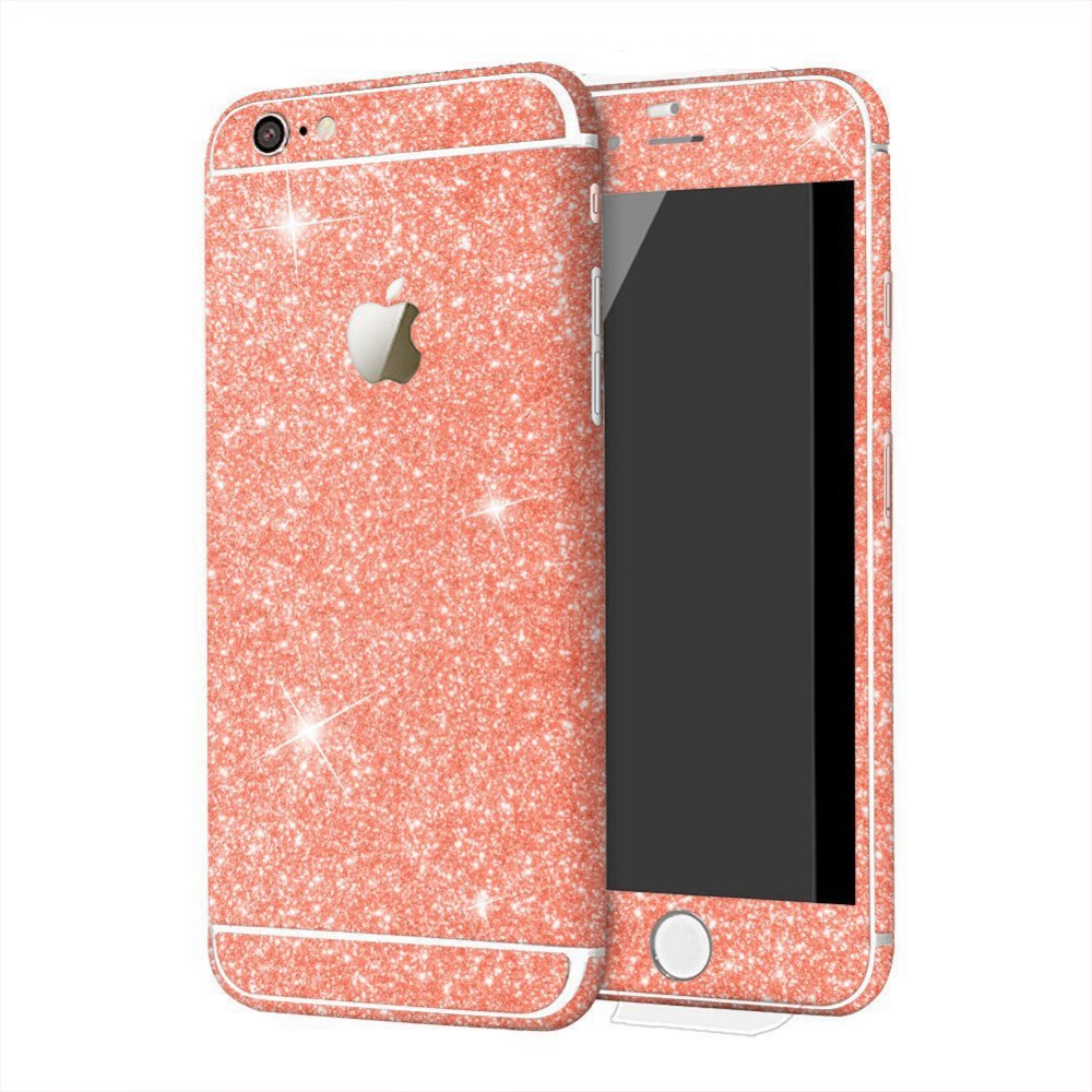 hot sell colorful phone skin glitter bling full body wrap sticker for iphone 6 6s /// for iphone 5 6 6s sparkly cases