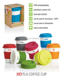 The USA Fashionable First Rate High Quality food grade 350ml silicone band plastic coffee cup with silicone screwed lid Bpa free