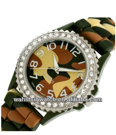 2013 camouflage wrist watch unisex swiss military watch with stone