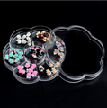 New Clear flower shape Empty Transparent 7 Cells Storage Box Case for nail art