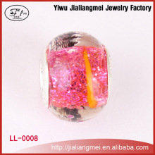 Yiwu Supplier European style DIY 925 silver plated core glass beads