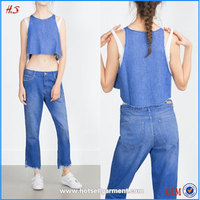 New Arrival Sex Ladies Photos Open Denim Crop Top High Fashion Ladies Western Dress Designs Ladies Clothes With Round Neck